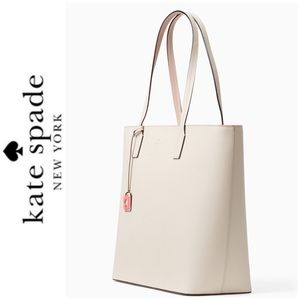 NWT Kate Spade leather zip top tote beige coral